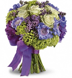 Wedding Flowers with purple ribbon